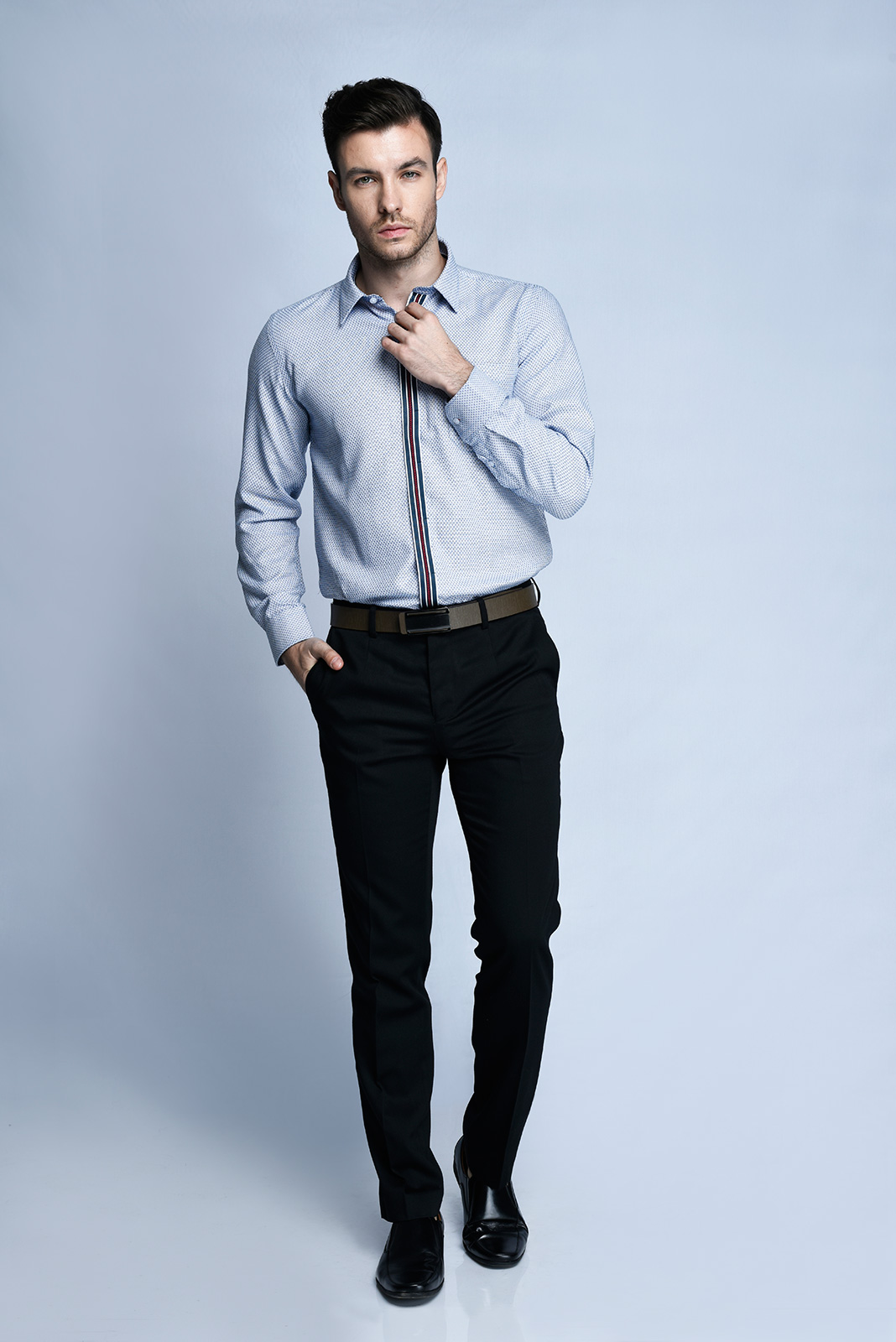 KEMEJA TANGAN PANJANG FORMAL SLIM FIT 6 (BIRU)